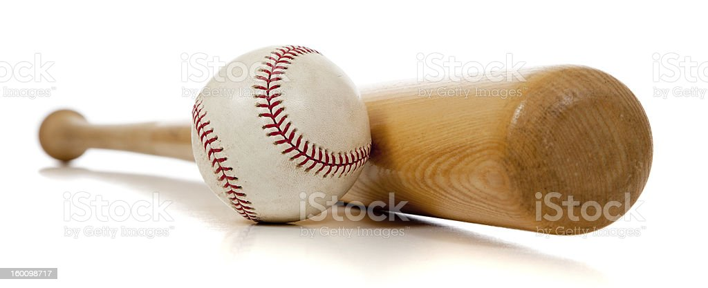 Baseball bat and ball on white background stock photo