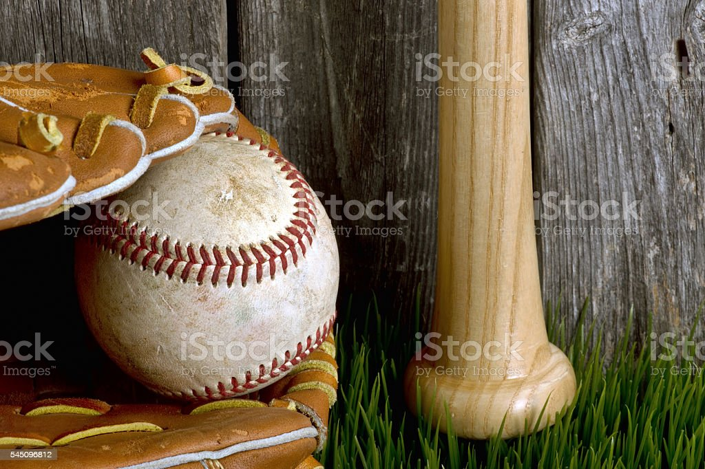 Baseball ,bat and ball. stock photo