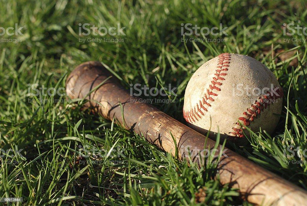 Baseball Bat and Ball stock photo