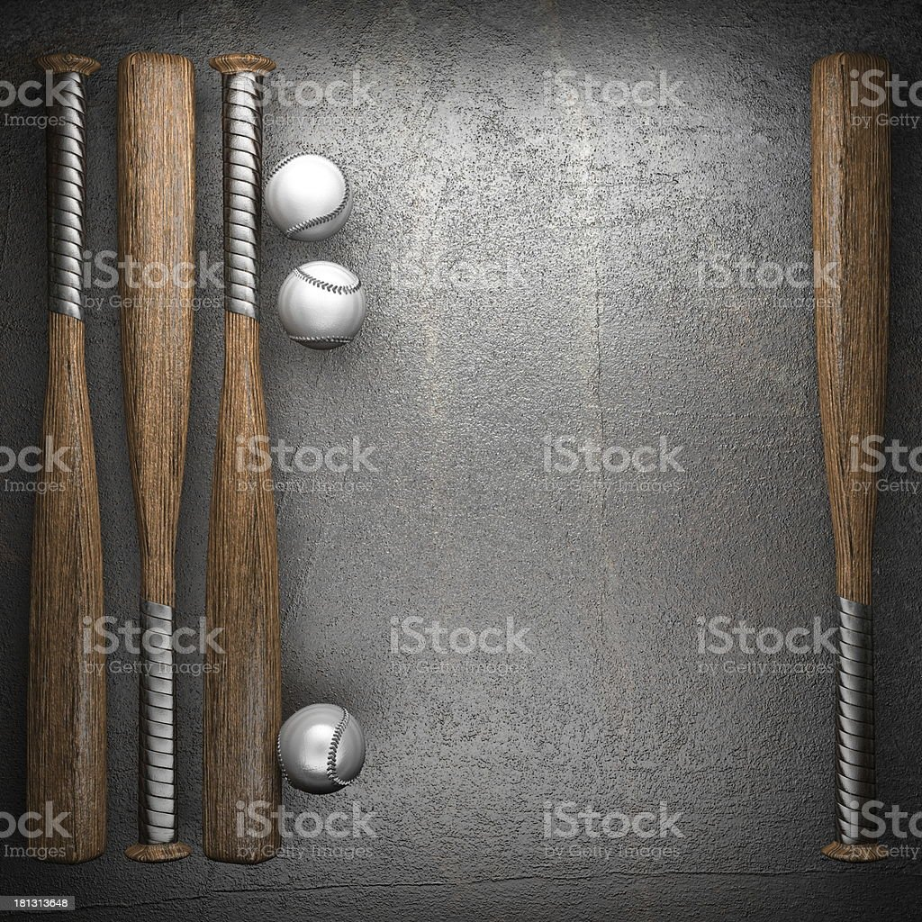 Baseball bat and balls in front of a metal background royalty-free stock photo