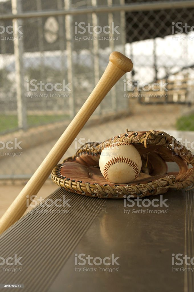 Baseball Bat and Glove in the Dugout royalty-free stock photo