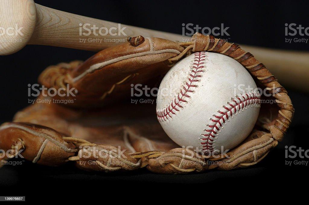 Baseball . Bat and Glove on black stock photo