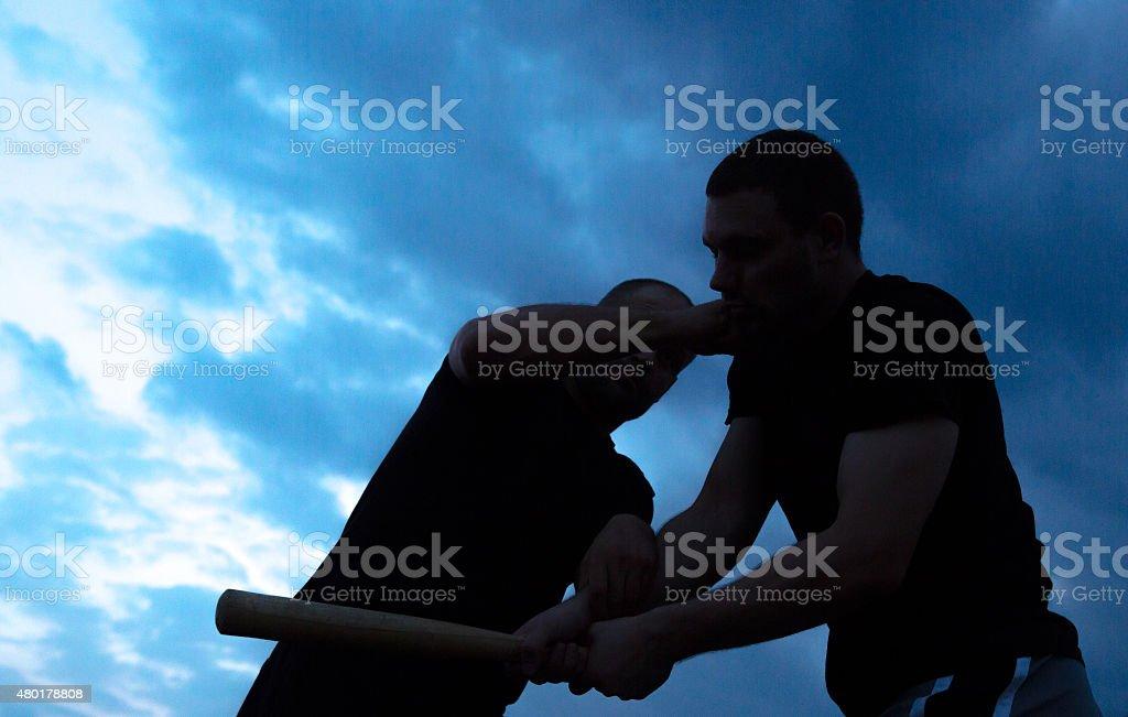 Baseball bat attack self-defence stock photo