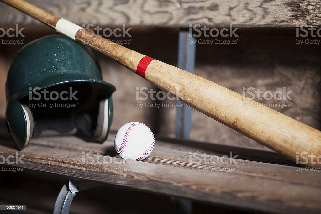 Baseball Bat, Helmet and Ball Still Life stock photo