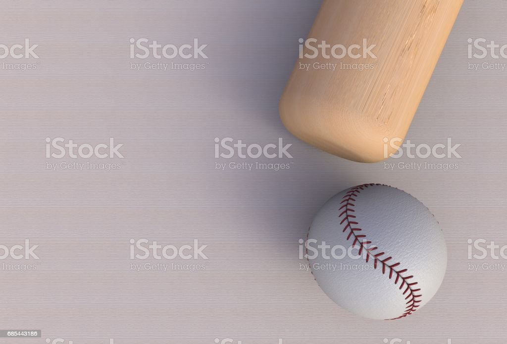Baseball bat isolated on table, 3d rendering stock photo