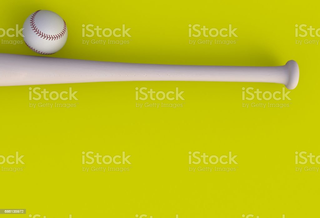 Baseball bat isolated on yellow background, 3d rendering stock photo
