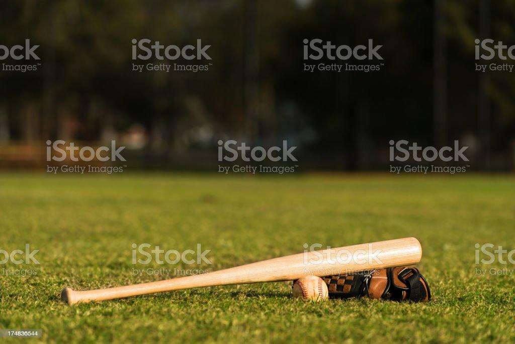 Baseball Bat Mitt and Ball on Diamond royalty-free stock photo