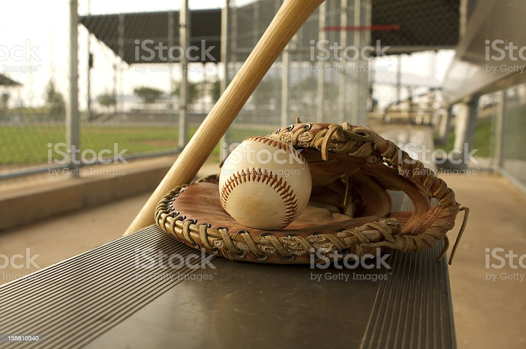 Baseball & Bat on the Bench stock photo
