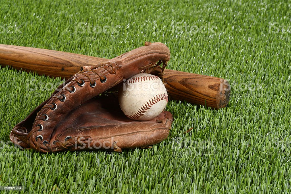 baseball bat with glove and ball stock photo