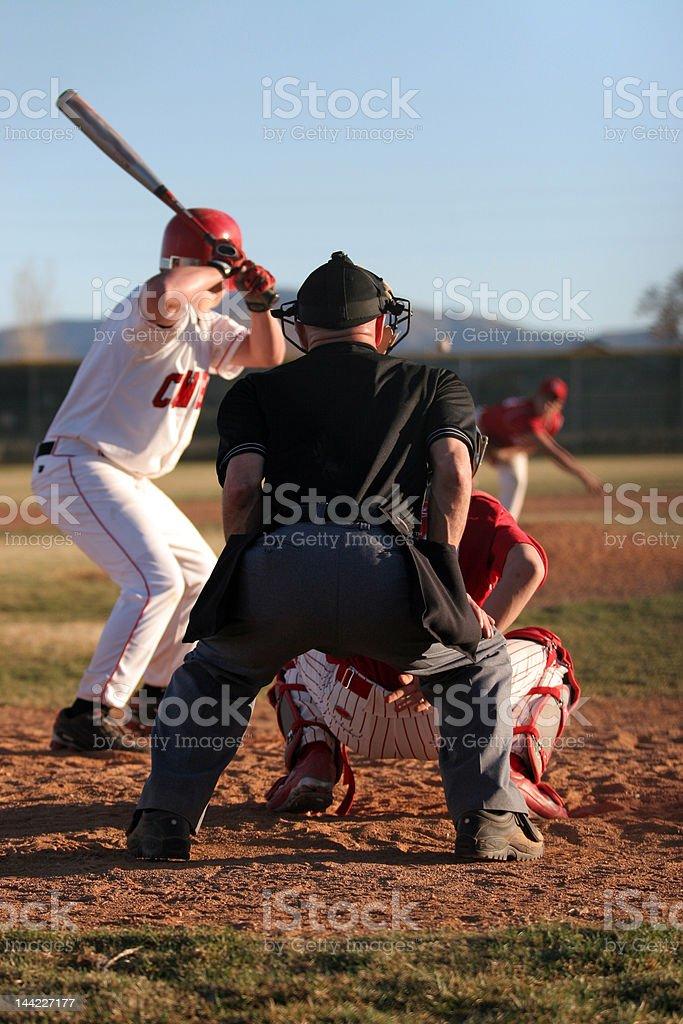 Baseball Batter, Catcher, Umpire, Pitcher stock photo