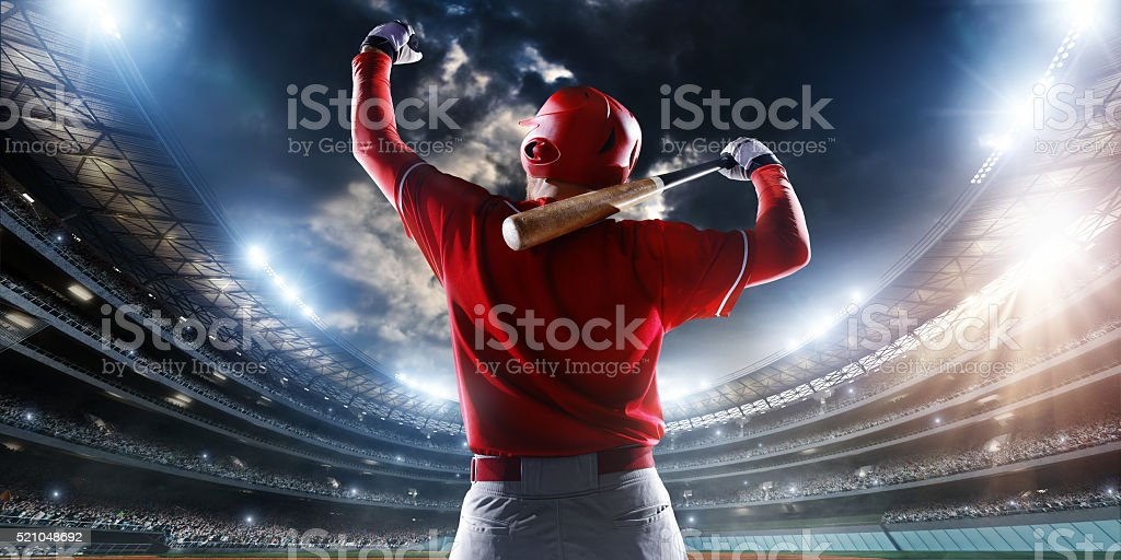 Baseball batter enters stadium stock photo