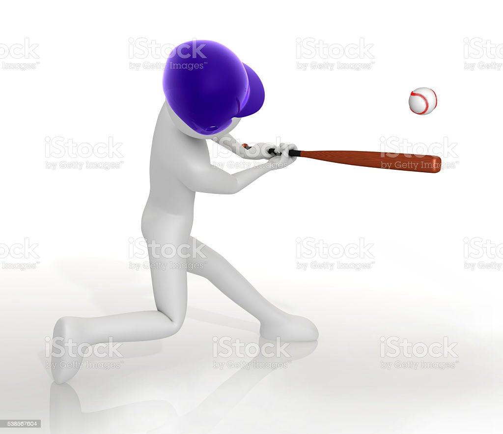 Baseball batter hitting the ball stock photo