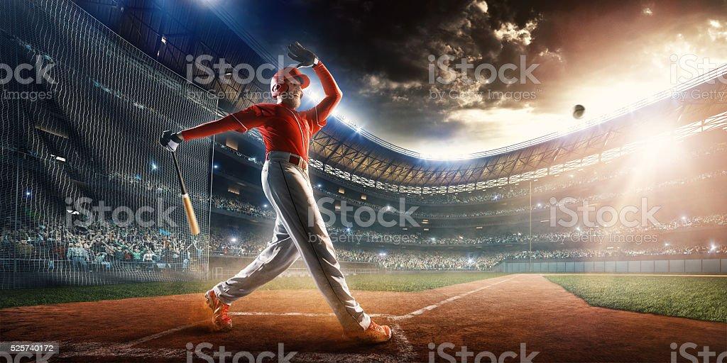 Baseball batter on stadium stock photo