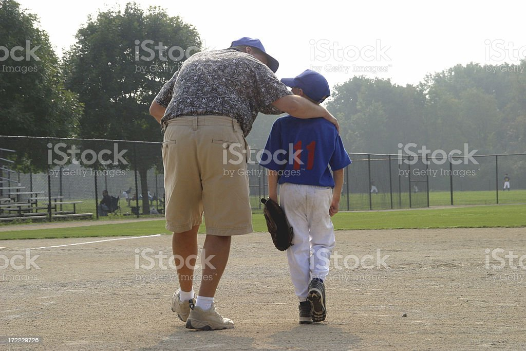 Baseball Boy and Dad stock photo
