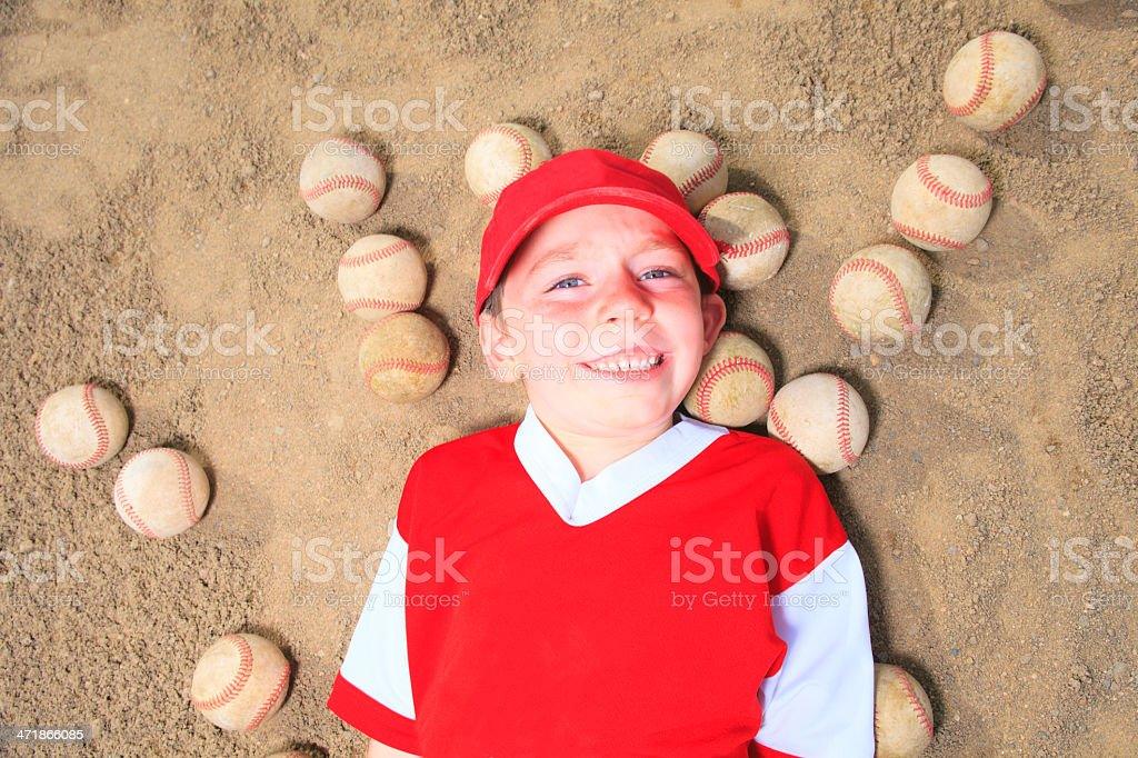 Baseball - Boy Lay Ball royalty-free stock photo