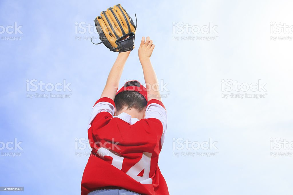 Baseball - Boy Over Sky royalty-free stock photo