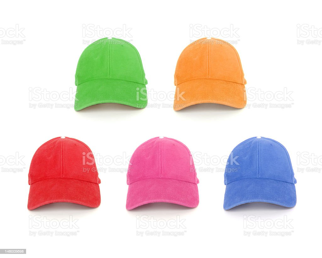 Baseball caps in a selection of colors stock photo