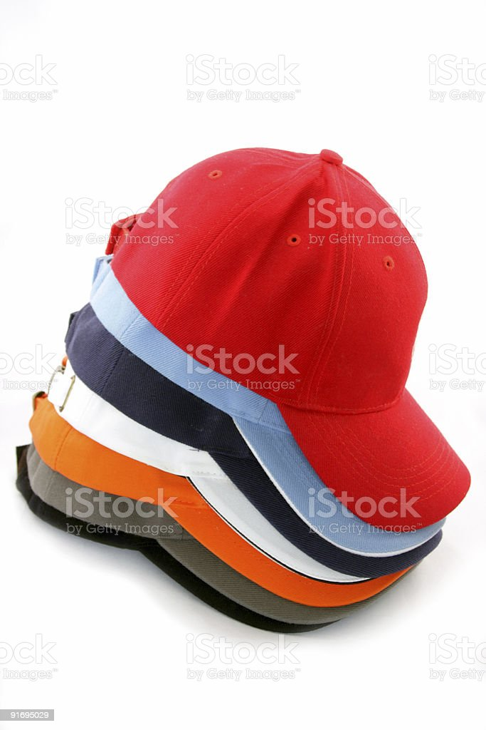 baseball caps stacked royalty-free stock photo