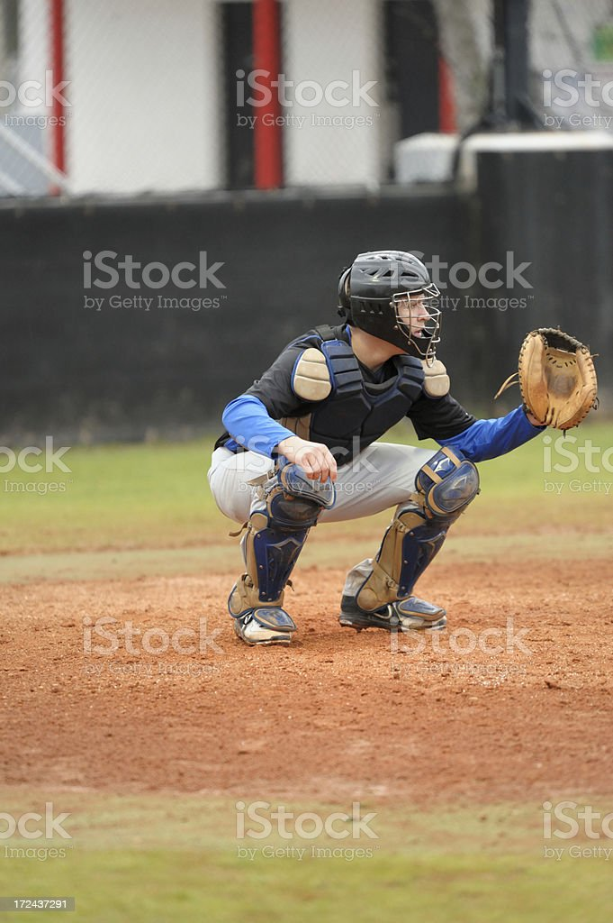 Baseball catcher about to catch ball royalty-free stock photo
