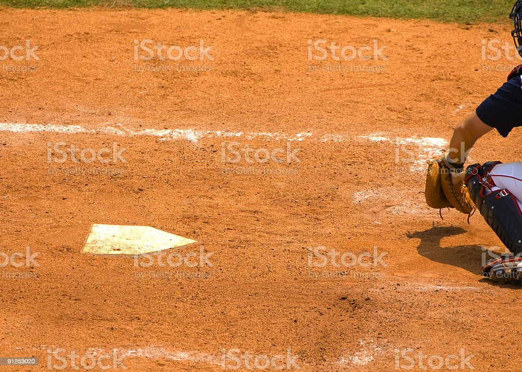 Baseball Catcher at Homeplate during a Baseball Game stock photo