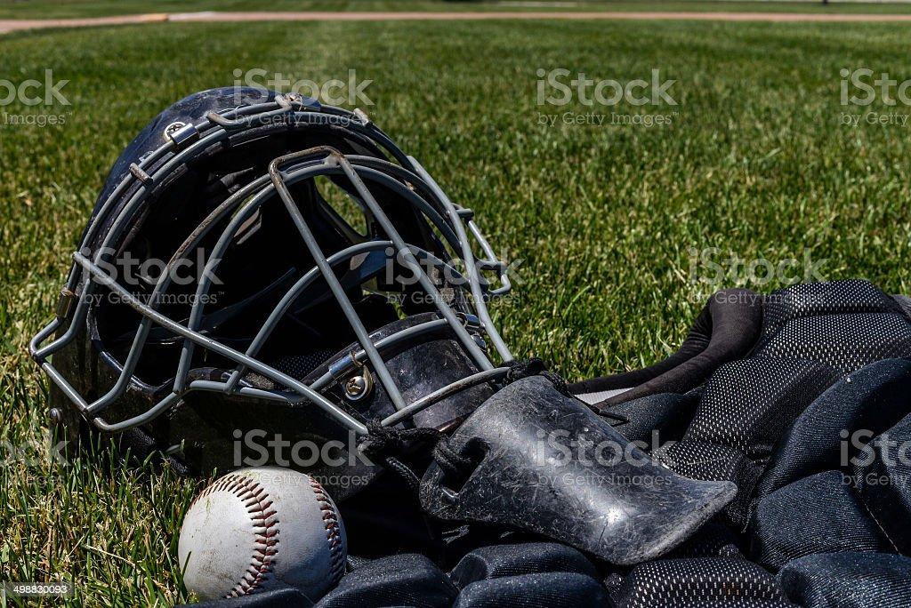 Baseball Catcher's Gear stock photo