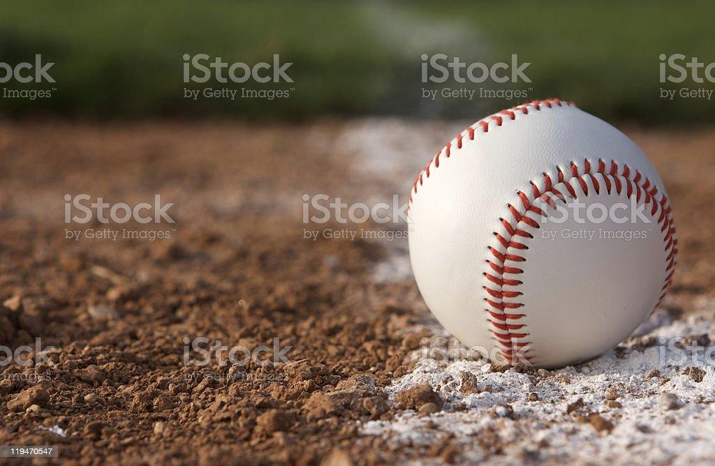 Baseball Close up on the Chalk Line stock photo