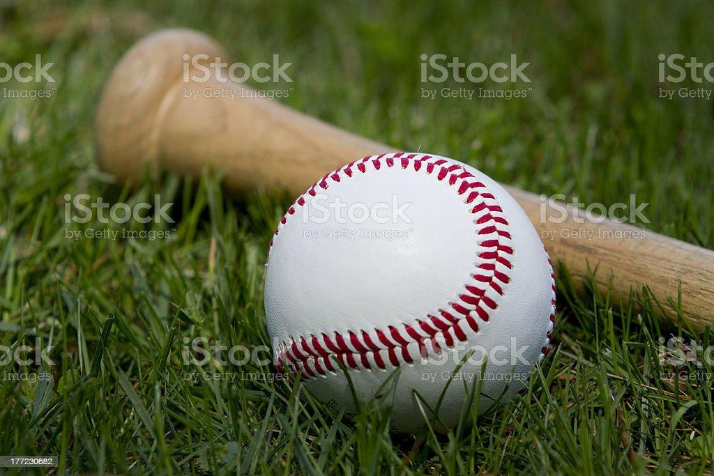 Baseball Close Up with Bat stock photo