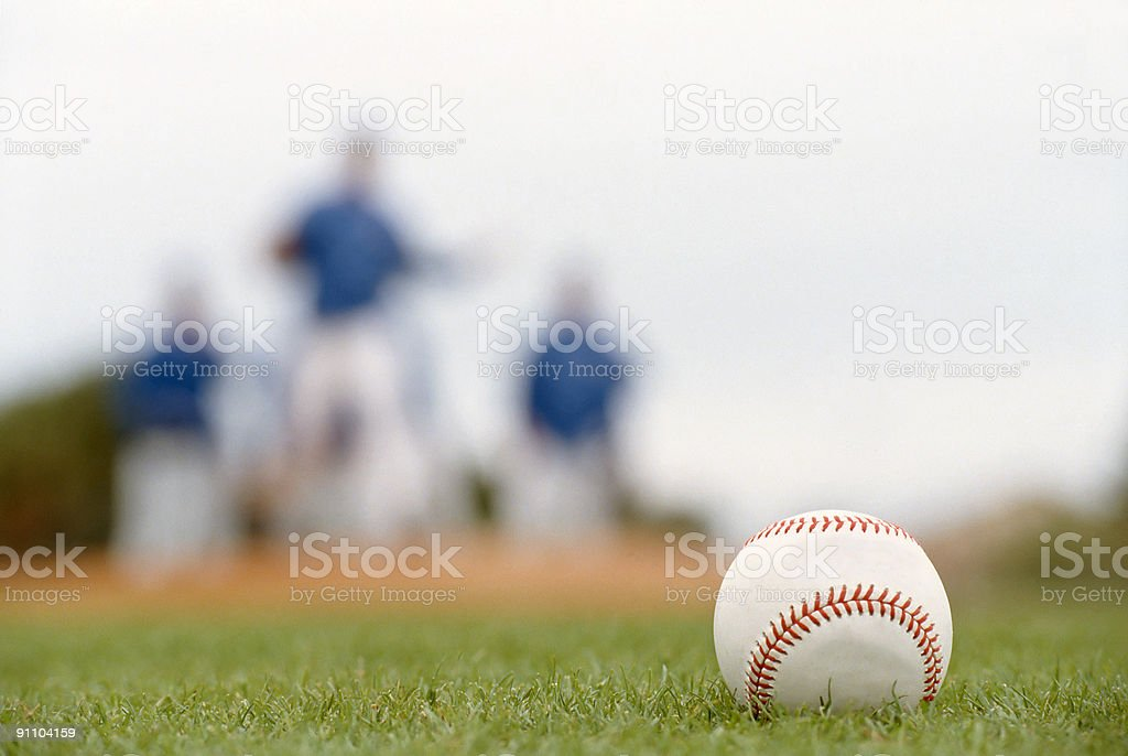 Baseball Closeup on Field stock photo