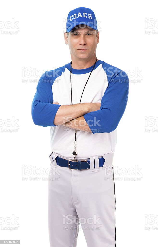 Baseball Coach with Arms Crossed Isolated on White Background royalty-free stock photo
