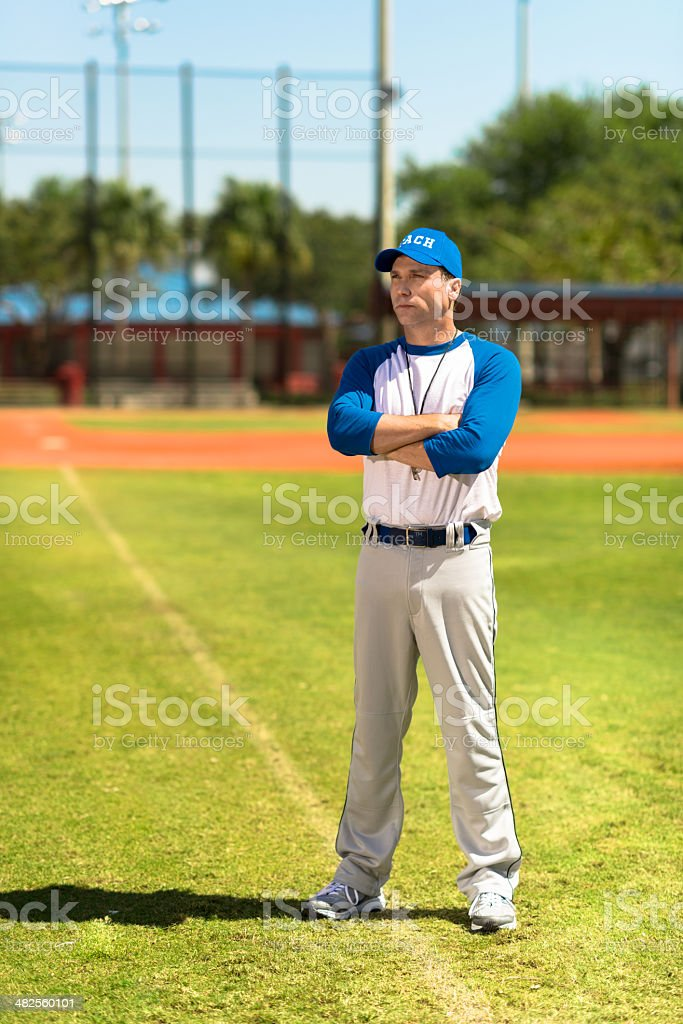 Baseball Coach with Arms Crossed royalty-free stock photo