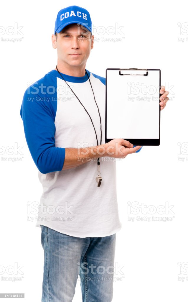 Baseball Coach with Clipboard Isolated on White Background royalty-free stock photo