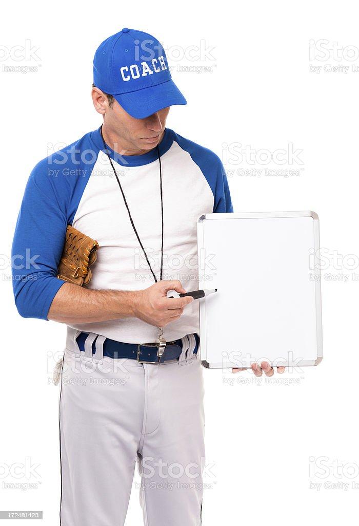Baseball Coach with Whiteboard Isolated on White Background royalty-free stock photo