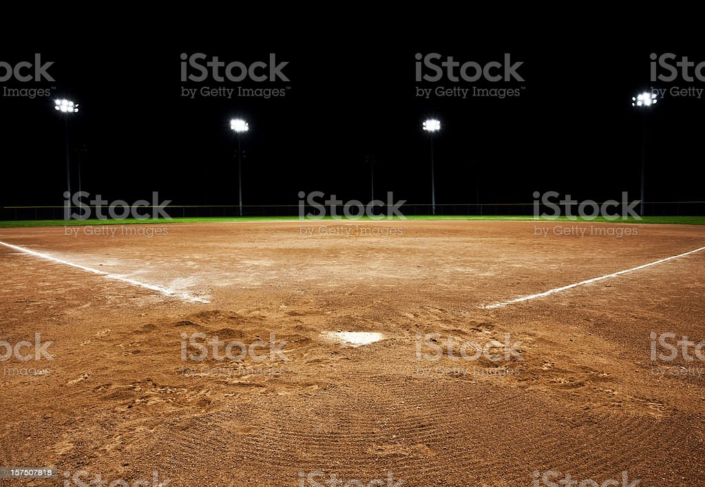 Baseball diamond at night royalty-free stock photo