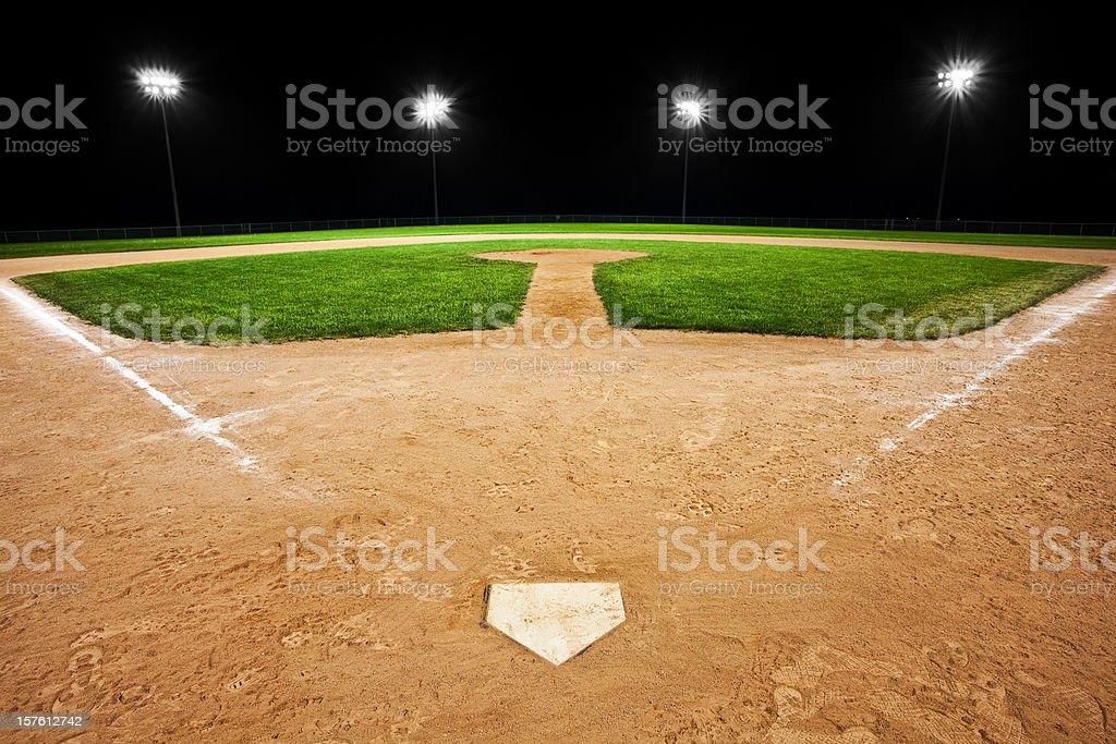 Baseball diamond at night royalty-free stock photo
