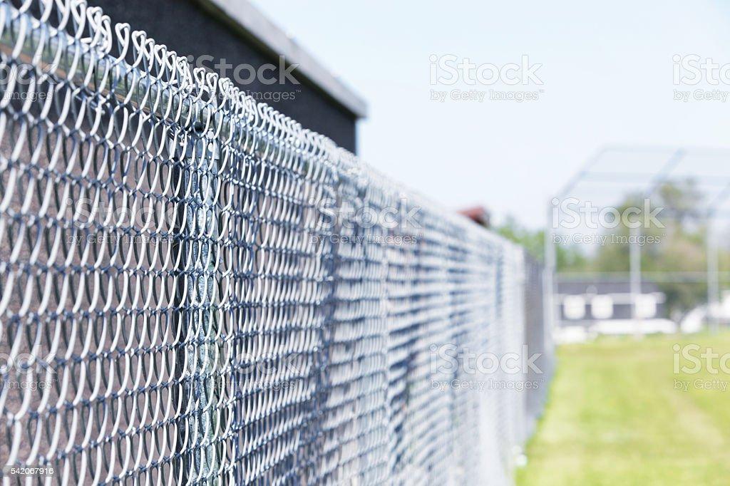 Baseball Diamond Chainlink Fence stock photo