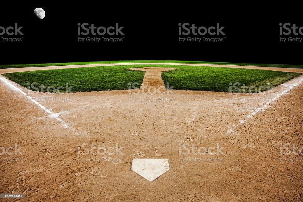 Baseball diamond in the evening stock photo