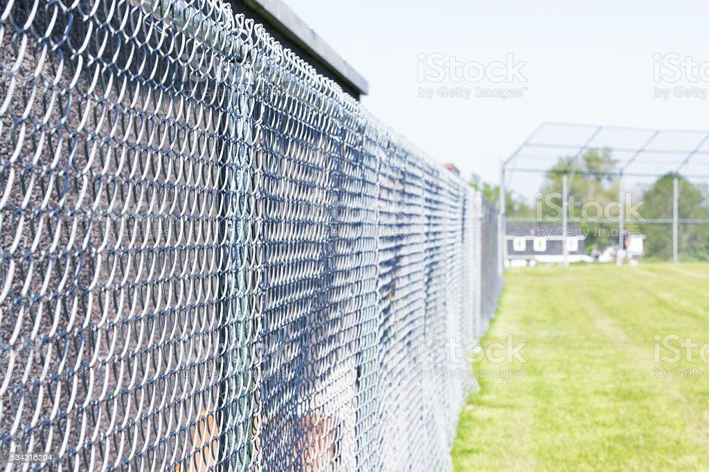 Baseball Diamond Playing Field Chainlink Fence Boundary stock photo