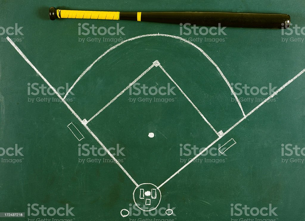 Baseball Diamond with Bat royalty-free stock photo