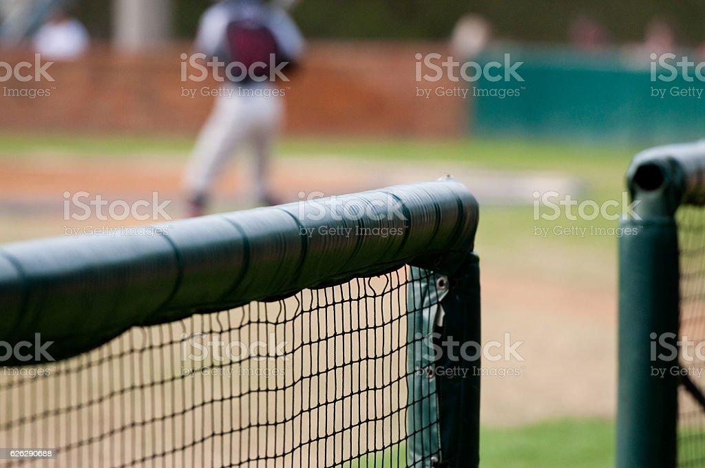 Baseball dugout close up stock photo