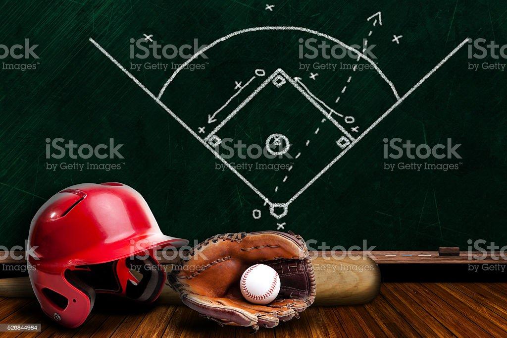 Baseball Equipment and Chalk Board Play Strategy stock photo
