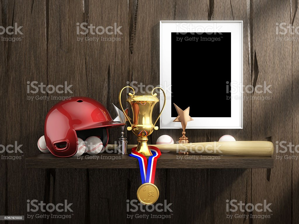 Baseball equipment and empty frame with clipping path. stock photo