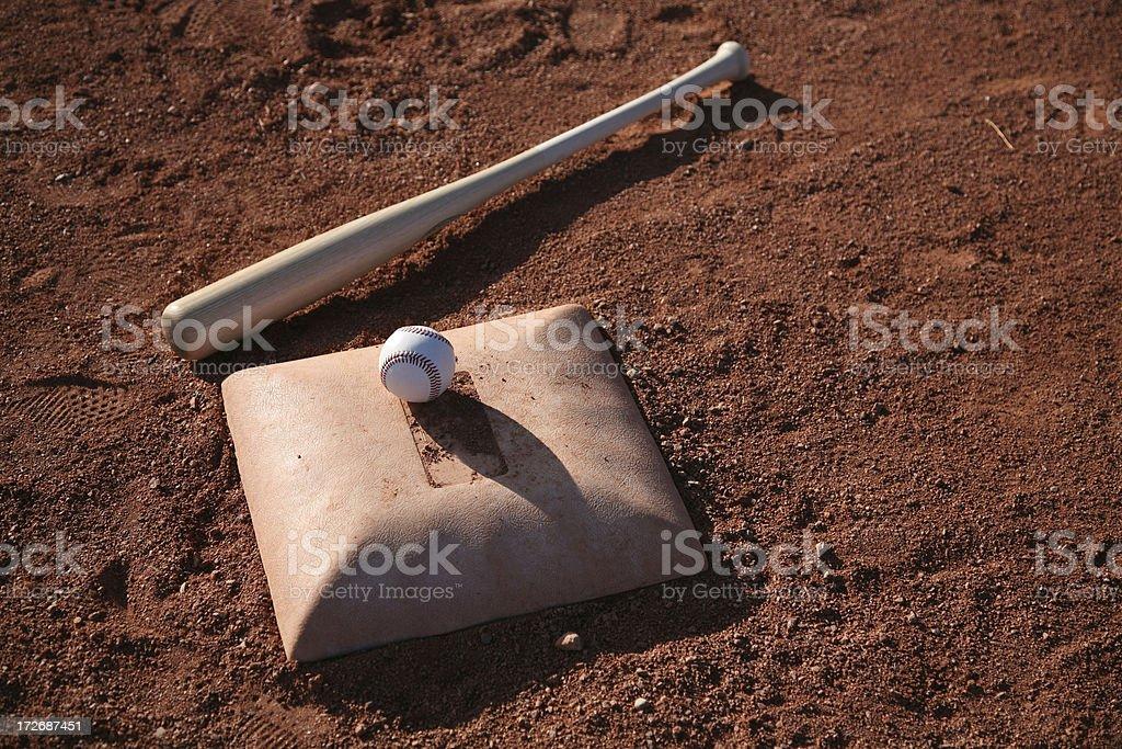 Baseball Equipment on field royalty-free stock photo