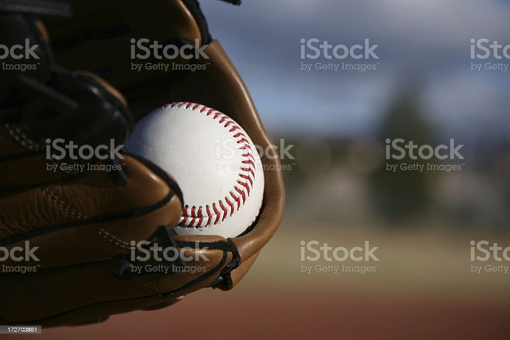 Baseball Equipment on field royalty-free stock photo