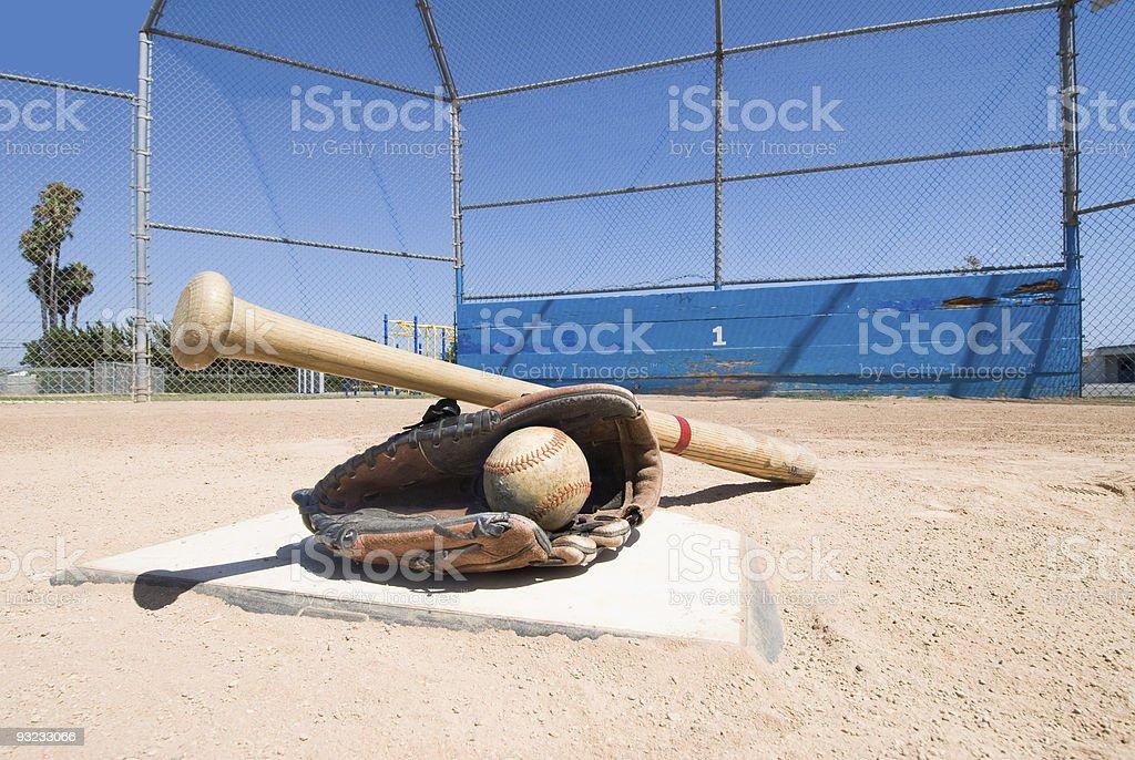 Baseball equipment on home plate