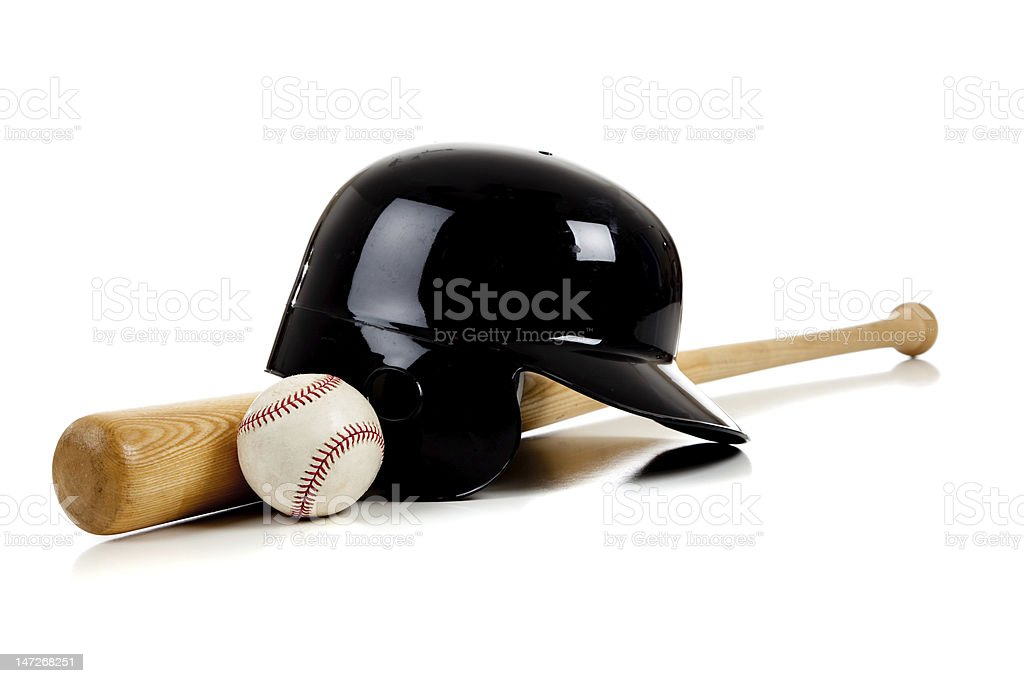 Baseball Equipment with bat, ball and helmet stock photo