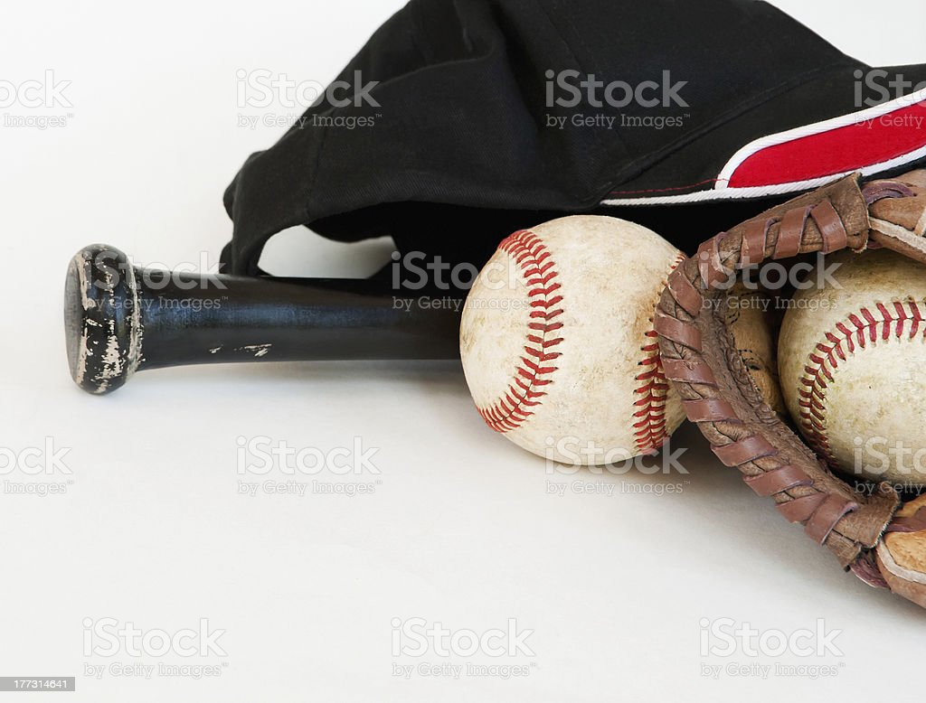baseball equipment with black bat royalty-free stock photo