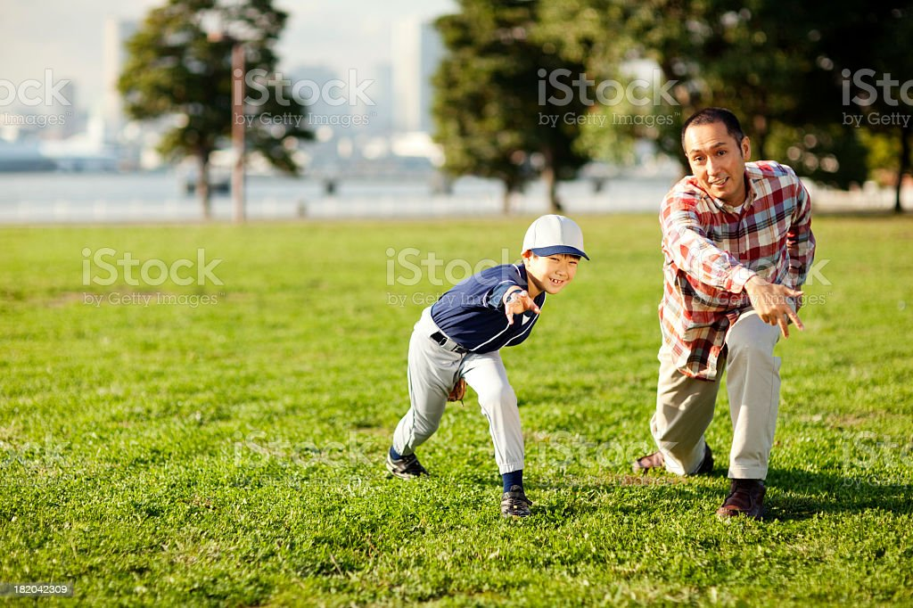 Baseball Father and Son stock photo