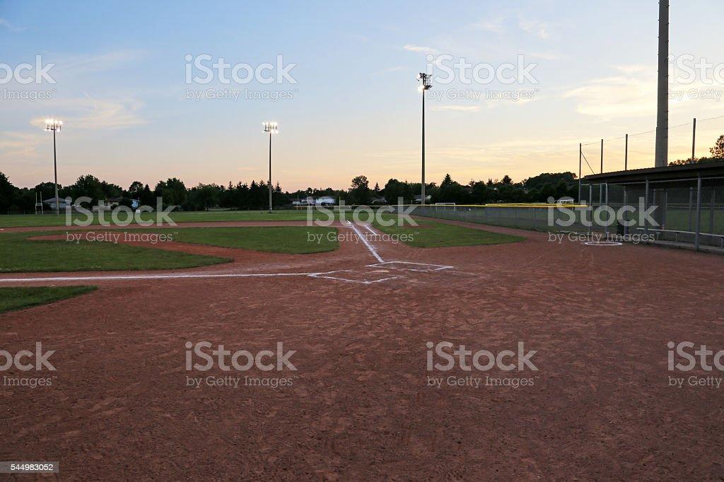 Baseball Field after Dusk stock photo