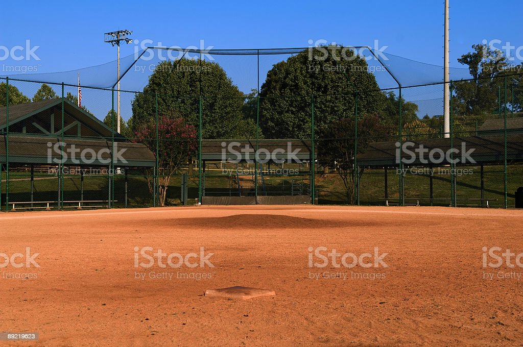 Baseball Field at a Baseball Game stock photo