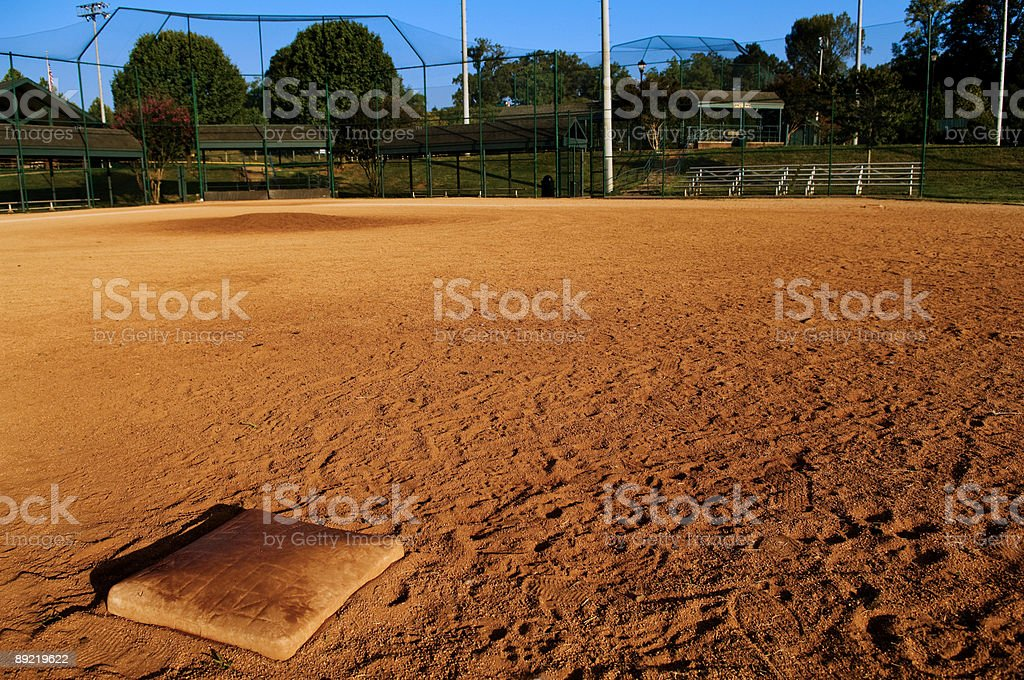Baseball Field at Baseball Game at Park stock photo